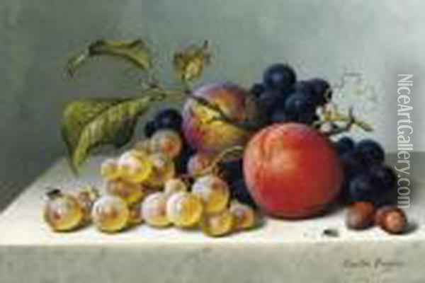 Peaches And Grapes On A Marble Ledge Oil Painting - Emilie Preyer