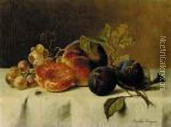 Grapes, Plums, And Peaches On A Table Oil Painting - Emilie Preyer