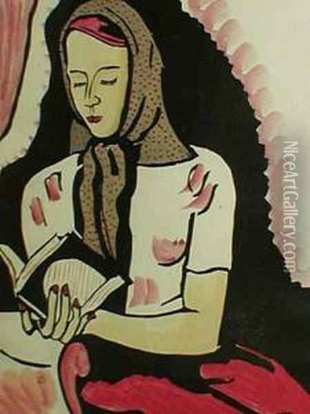 Attr. A, La Lectrice Oil Painting - Andre Julien Prina