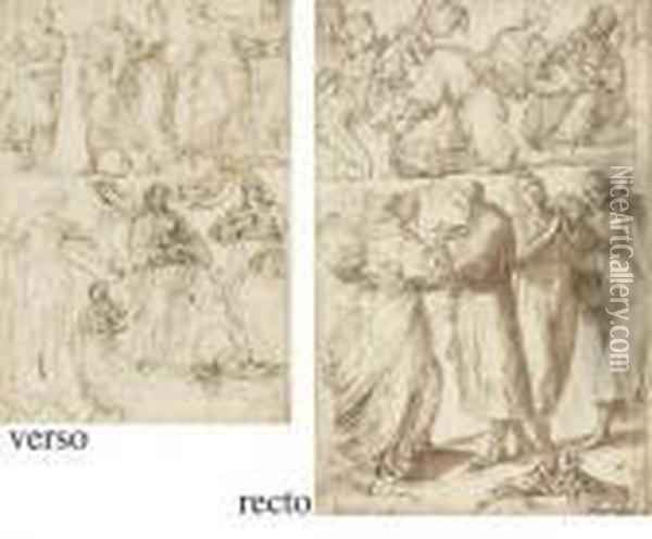 A Sheet Of Studies Of Standing,  Seated And Reclining Figures And The Madonna And Child Seated ( Oil Painting - Giulio Cesare Procaccini