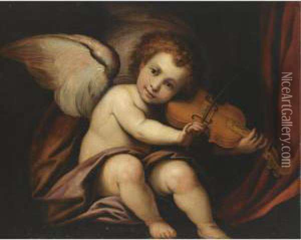 A Putto Playing The Violin Oil Painting - Giulio Cesare Procaccini