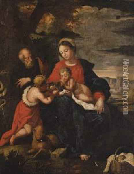 The Holy Family With The Infant Saint John The Baptist Oil Painting - Giulio Cesare Procaccini