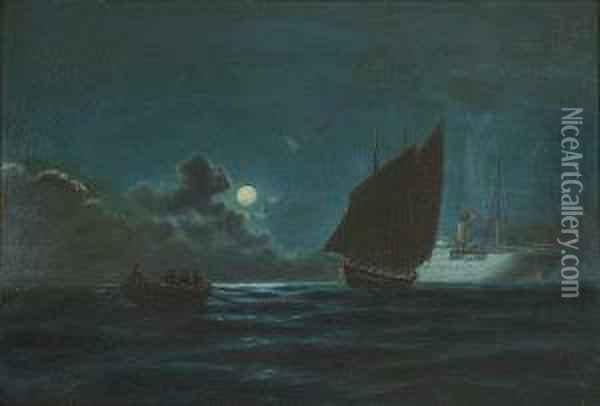 Sailing In The Moonlight Oil Painting - Emilios Prosalentis