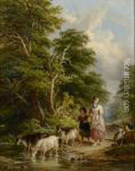 Driving Goats Across A Stream; Country Entertainments Oil Painting - John Anthony Puller