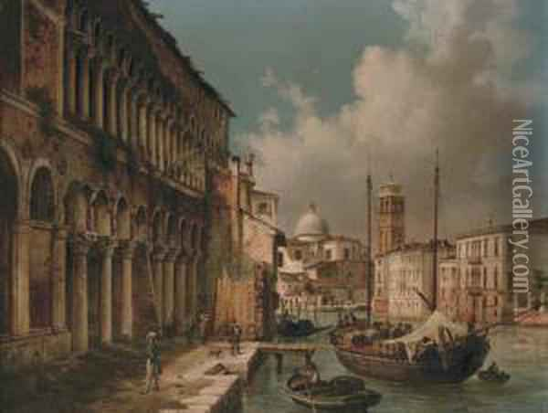 Figures Before A Palazzo On A Venetian Backwater With San Giorgio Maggiore Beyond Oil Painting - Luigi Querena