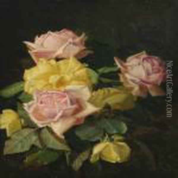 Still Life With Roses Oil Painting - Niels Peter Rasmussen