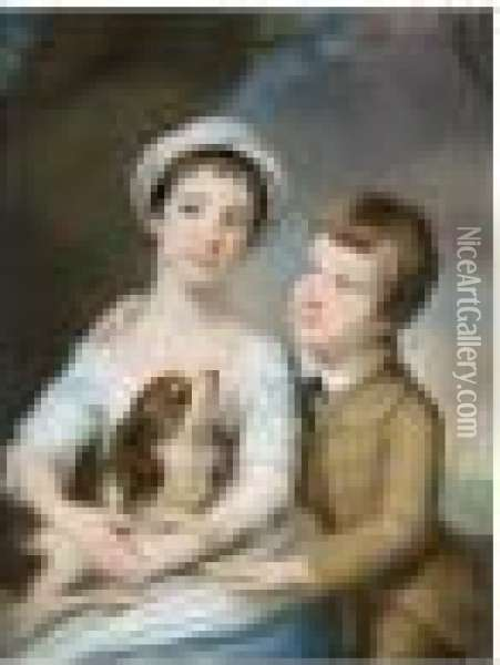 Portrait Of George Henry  Fitzroy, Earl Of Euston, Later 4th Duke Of Grafton And Lady Georgina  Fitzroy Oil Painting - Catherine Read