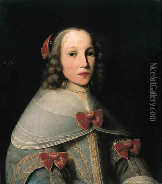 Portrait of Elisabeth Pruys van Oswaert (-1683), half length, wearing a light blue brocade dress with lace collar and red bows Oil Painting - Lambert Doomer