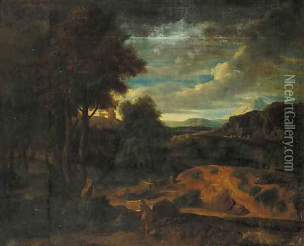 An Italianate landscape at sunset with shepherds in the foreground Oil Painting - Gaspard Dughet