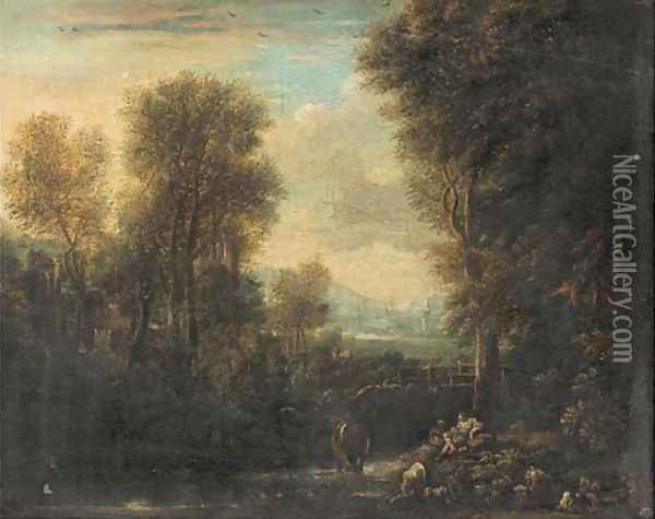 An Italianate river landscape with a drover and his cattle resting on a river bank, other figures beyond Oil Painting - Gaspard Dughet