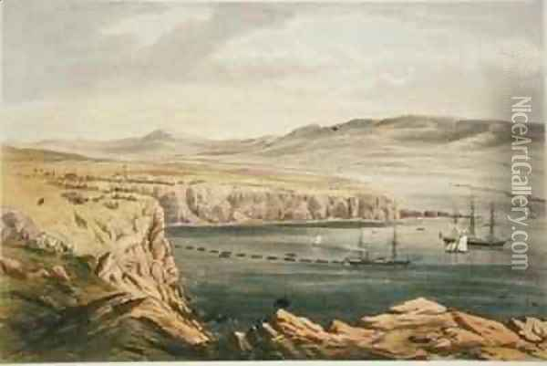 View of Port Magee Valentia from the heights of Cora Beg HMS Caroline laying the shore end of the cable Oil Painting - Robert Dudley