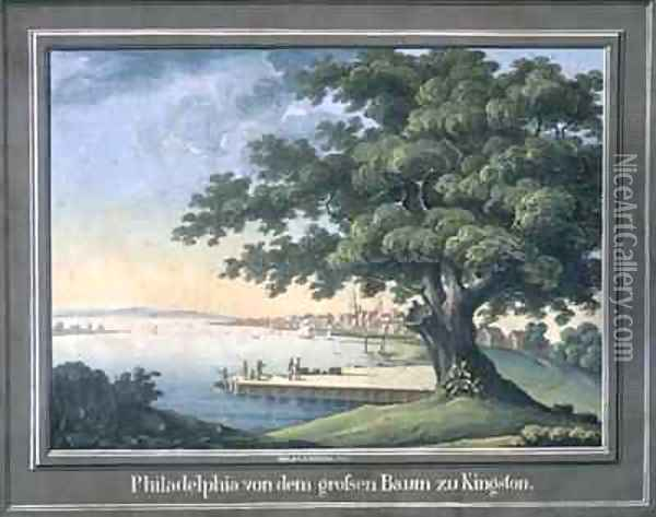 The Great Tree of Kingston with a view of Philadelphia behind Oil Painting - C.A. During