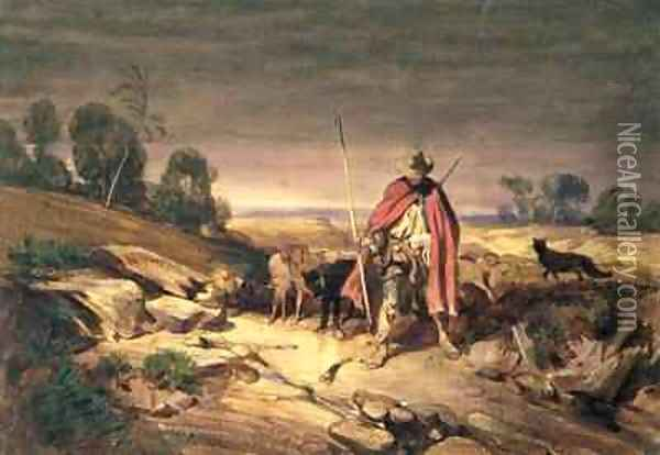 The Return of the Shepherd Oil Painting - Gabriel-Alexandre Descamps