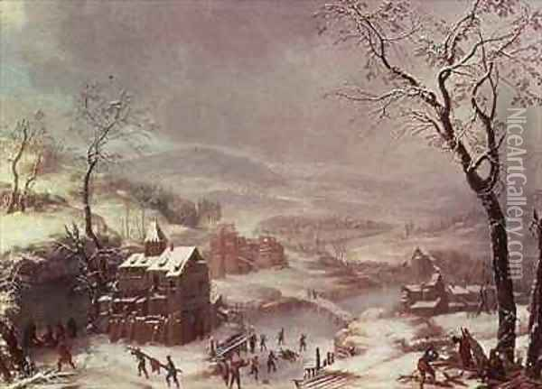 Winter scene near River Flustal Oil Painting - Johann the Yngr Dallinger von Dalling