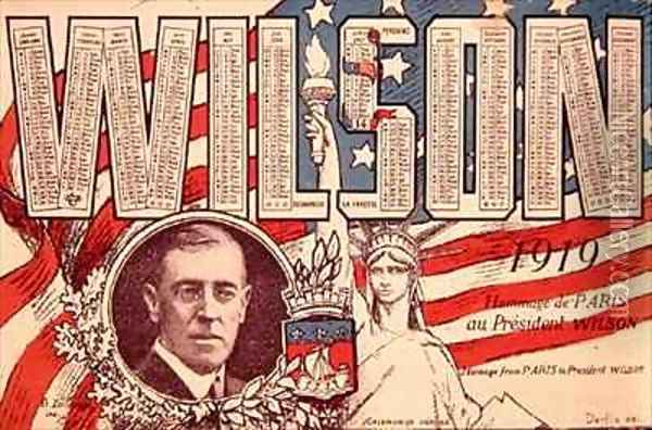 Calendar paying homage from Paris to President Woodrow Wilson 1856-1924 Oil Painting - Derfla
