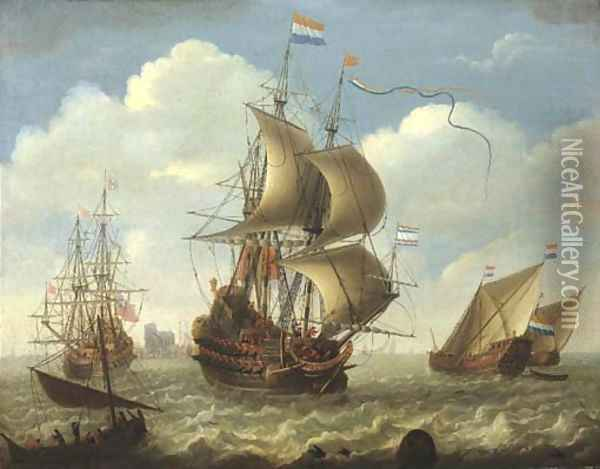 English and Dutch men-o'-war on the river Merwede, Dordrecht beyond Oil Painting - Hieronymus Van Diest