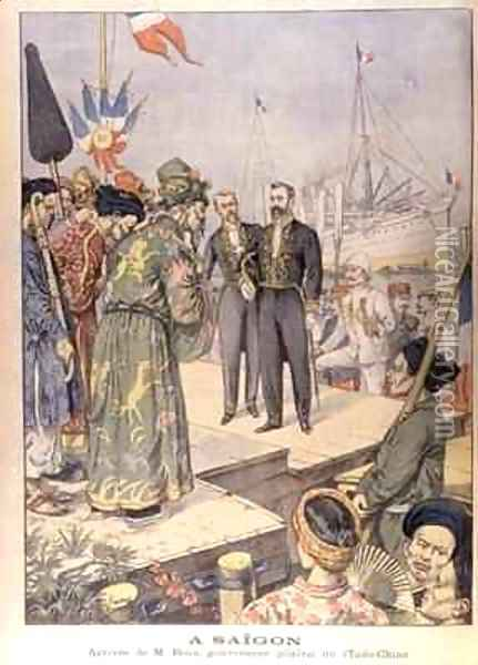 Arrival in Saigon of Paul Beau 1857-1927 Governor General of Indo China 1902-07 Oil Painting - Charles Georges Dufresne