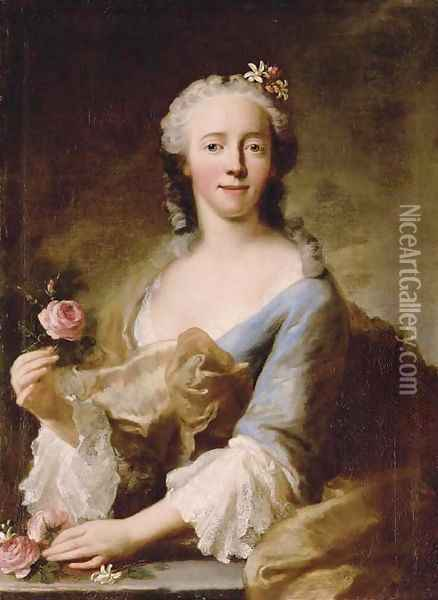 Portrait of a lady, half-length, in a blue dress with white lace sleeves and trimming, holding a pink rose in each hand, with flowers in her hair Oil Painting - Georg Desmarees
