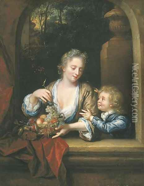 A mother and child with a basket of fruit at a casement Oil Painting - Philip van Dyck