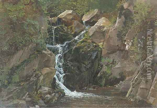 A waterfall in Morgenbach, Germany Oil Painting - Attibuted To Carl Dahl
