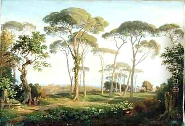Italian Landscape with Pines Oil Painting - Thomas Dessoulavy