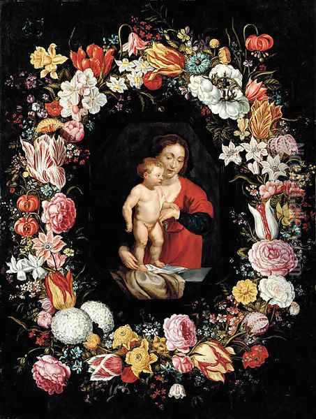 The Virgin and Child surrounded by a garland of flowers Oil Painting - Andries Daniels or Danielsz