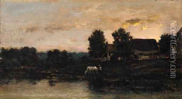 Cattle watering in a twilight landscape Oil Painting - Charles-Francois Daubigny