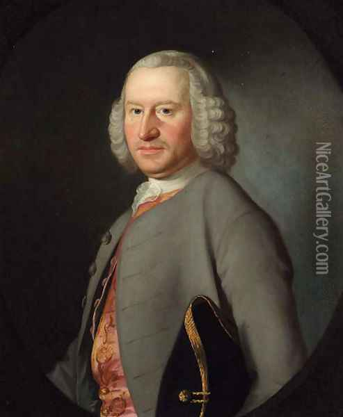 Portrait of Robert Newton (1713-1789) of Norton and Mickleover, High Sheriff of Derbyshire Oil Painting - Josepf Wright Of Derby