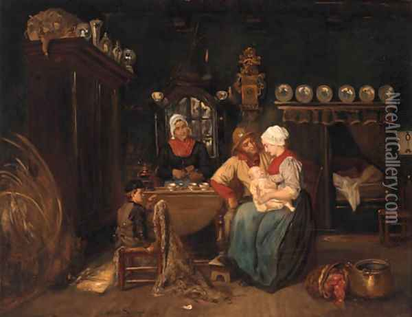 A family in a kitchen interior Oil Painting - Albert Dillens