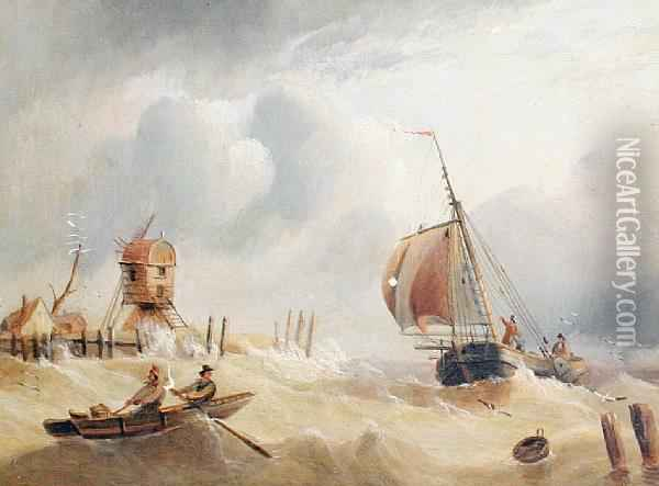 Rough Water At The Estuary Mouth Oil Painting - Edward King Redmore