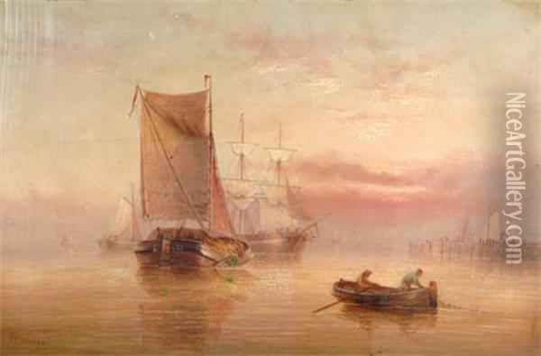 Fishing & Other Boats, Fisherman In Small Boat In Theforeground Oil Painting - Edward King Redmore