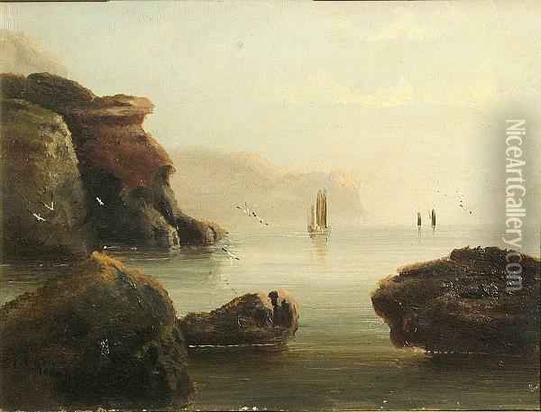 A Coastal Seascape With Boats In The Distance; Also A Companion Seascape (a Pair) Oil Painting - Edward King Redmore