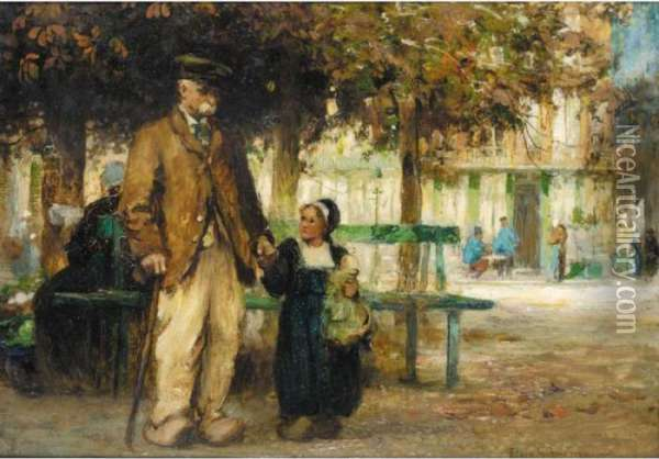 Youth And Age; A Stroll With Grandpa Oil Painting - Flora MacDonald Reid