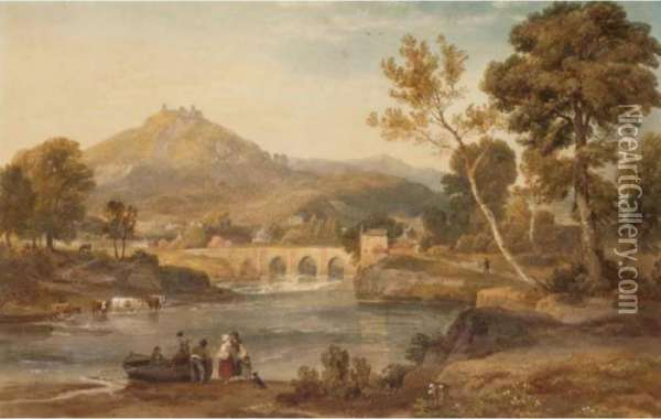 View Of Llangollen,wales Oil Painting - Ramsay Richard Reinagle