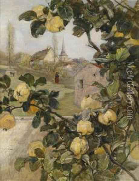 Branch Of A Quince Tree Withview Of A Small Village In Luxembourg Oil Painting - Rudolf Ribarz