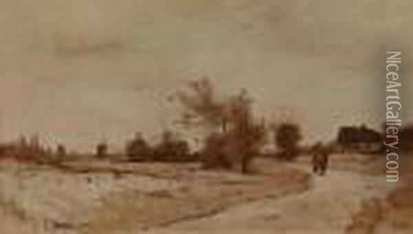 Landscape With Walkers Oil Painting - Rudolf Ribarz