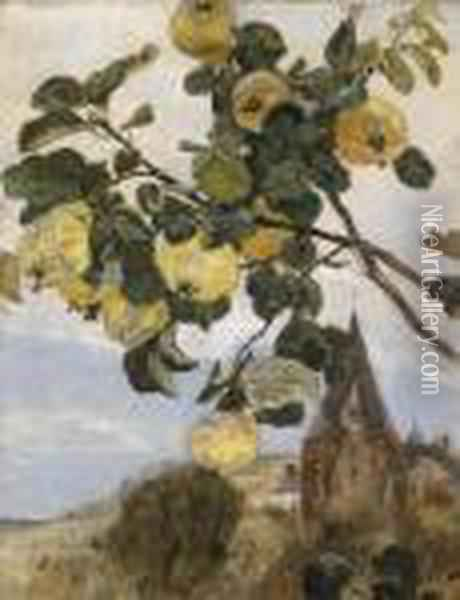 Branch Of A Quince Tree Setagainst A Landscape Oil Painting - Rudolf Ribarz