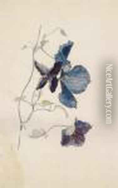 Blue Clematis Oil Painting - Rudolf Ribarz