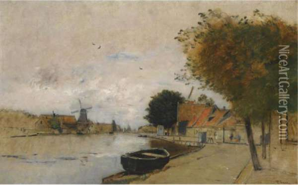 A Dutch Village Oil Painting - Rudolf Ribarz