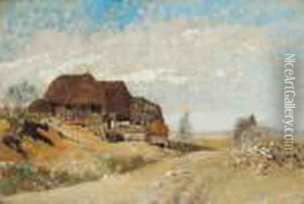 Attributed Landscape With Red Roofed Farm Houses Oil Painting - Rudolf Ribarz