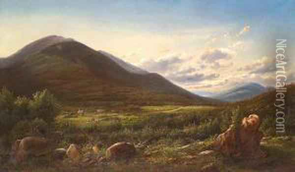 A Carriage And Horsemen On A Road With Mountwashington In The Distance Oil Painting - Ferdinand Reichardt