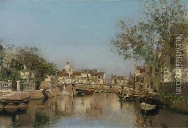 A Canal Near The Isle Of Giudecca, Il Redentore In The Distance Oil Painting - Martin Rico y Ortega