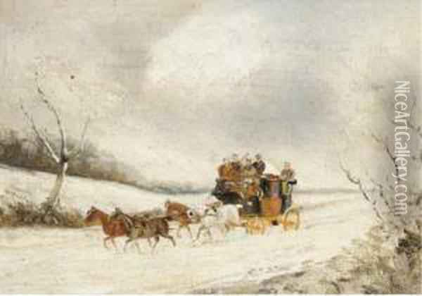 A Stage Coach In A Winter Landscape; And A Stage Coach In A Summerlandscape Oil Painting - Philip H. Rideout