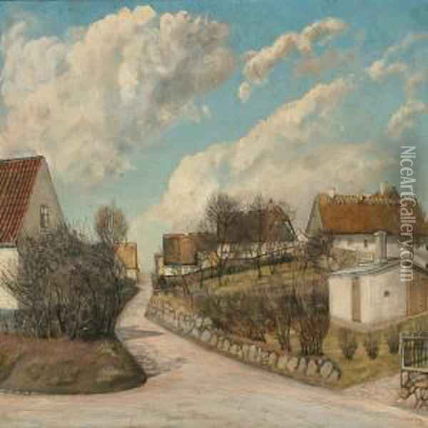 Summer Day In A Danish Village With Thatched Houses Oil Painting - Laurits Andersen Ring