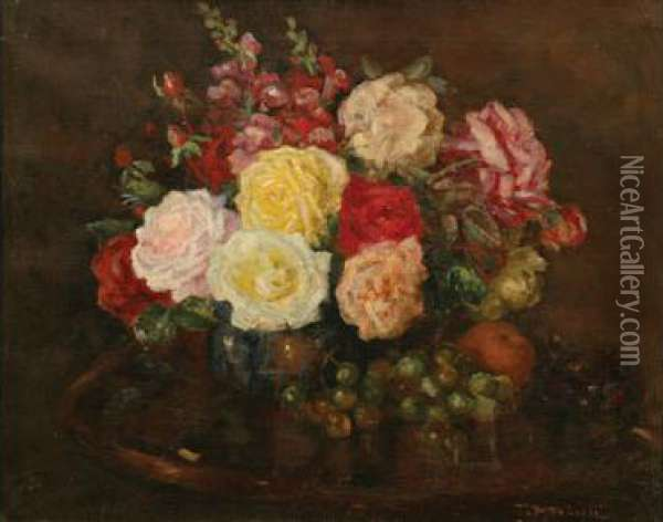 Still Life With Roses And Grapes Oil Painting - Tom Roberts