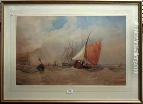 Sailing Vessels In Choppy Waters Oil Painting - Thomas Sewell Robins
