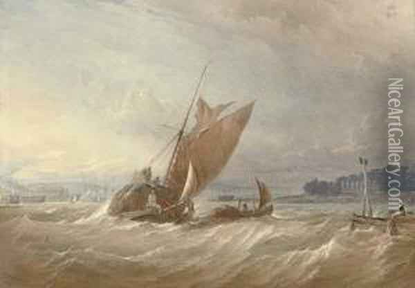 A Hay Barge Running Out Of The Medway With Upnor Castle Abeam Oil Painting - Thomas Sewell Robins
