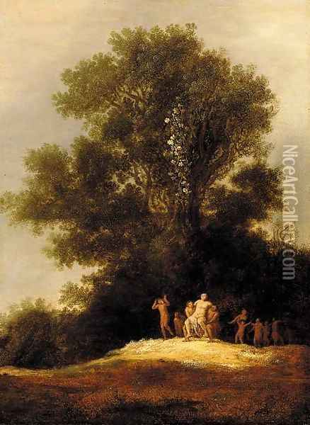 A landscape with Silenus leading a Bacchanal Oil Painting - Dirk The Elder Dalens