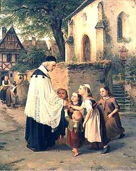 The Childrens Greeting Oil Painting - Jakob Furchtegott Dielmann