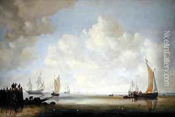 Ships offshore in a calm with figures on a jetty Oil Painting - Willem van Diest